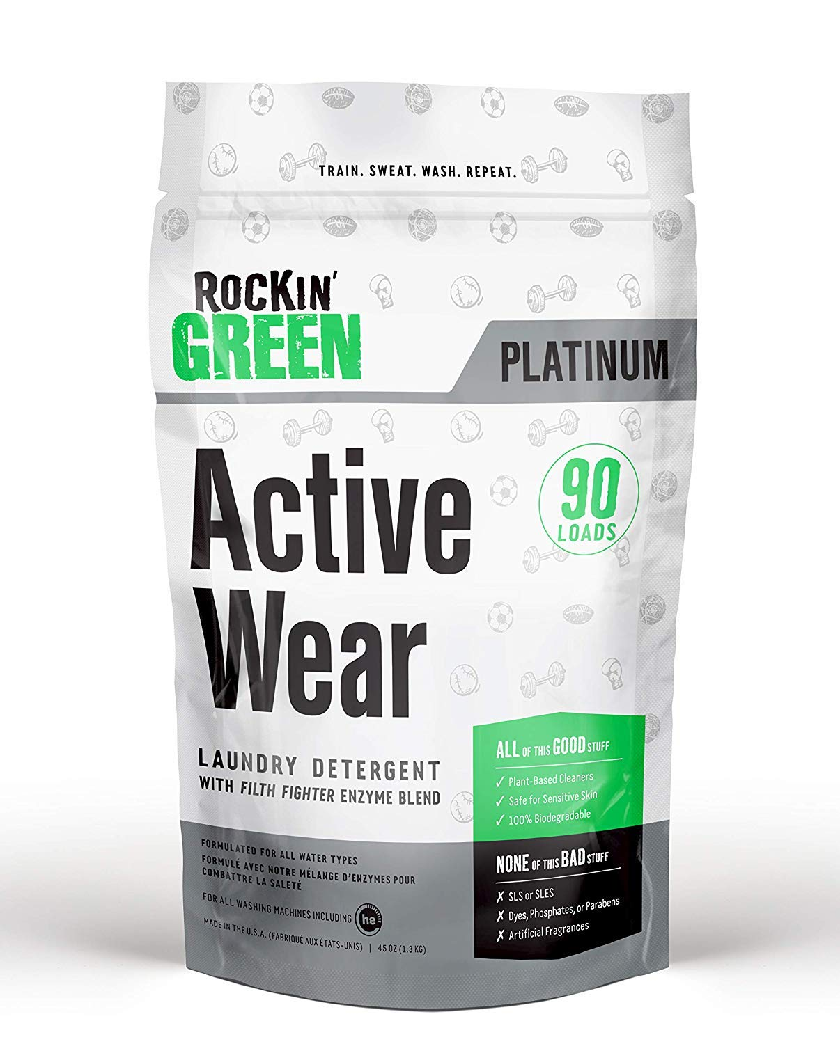 Rockin' Green Platinum Series Active Wear Laundry Detergent Powder, 45 oz. - All Natural, Biodegradable, and Eco-Friendly by Rockin' Green
