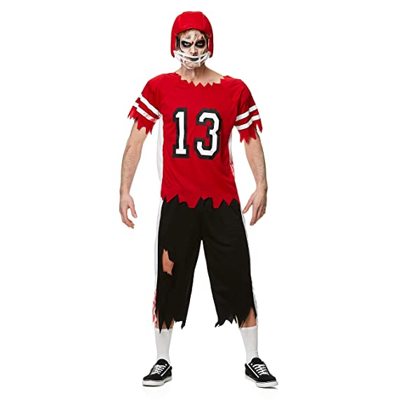 Football Player Halloween Costume.Men S Zombie Football Player Costume For Halloween Party Accessory Extra Large Red And White Amazon In Clothing Accessories