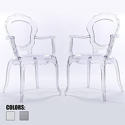 Attirant 2xhome Set Of Two (2)   CLEAR   Belle Style Ghost Armchairs   Poly