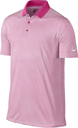 Nike Golf Victory Mini Stripe Polo (Vivid Pink/White) (Small ...