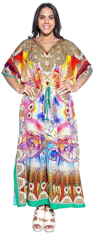 La Leela weich likre digital künstlerischen Kimono langen Sommerkleid Kaftan maxi gelb