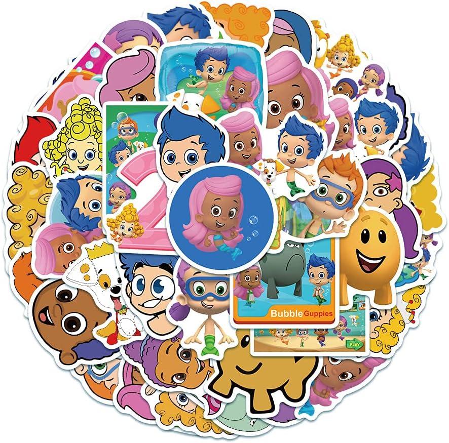 KEJIA Niños clásicos de Dibujos Animados Bubble Guppies Maleta Maleta patineta niños Juguete Pegatinas 50 Hojas
