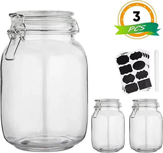 Glass Kitchen Storage Canister Mason Jars with Lids,50oz Airtight Glass  Canister with Hinged Lid,Perfect for Kitchen Canning  Cereal,Pasta,Sugar,Beans ...
