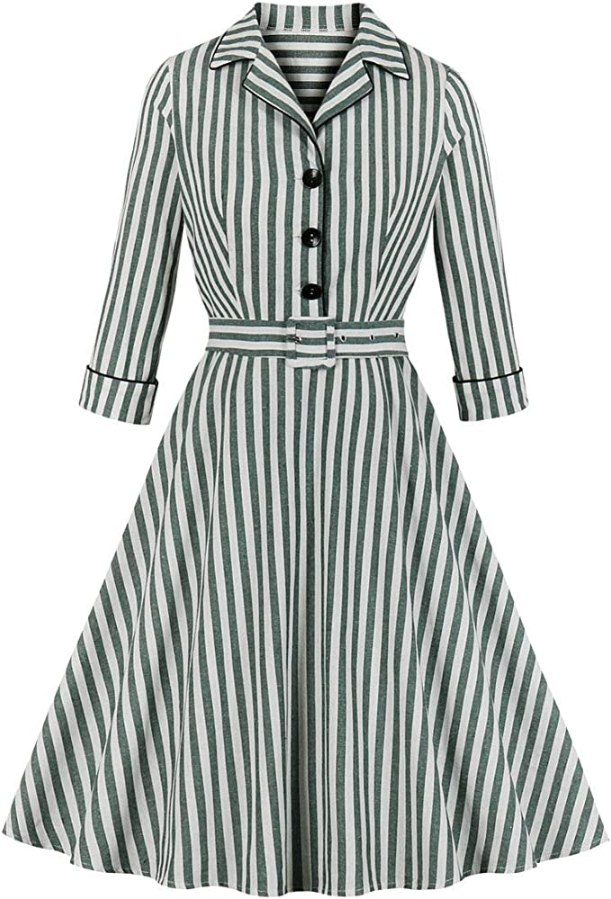 1940s Dresses and Clothing UK | 40s Shoes UK Wellwits Womens 3/4 Sleeves Striped Button Shirt Lapel Vintage Career Dress £12.99 AT vintagedancer.com