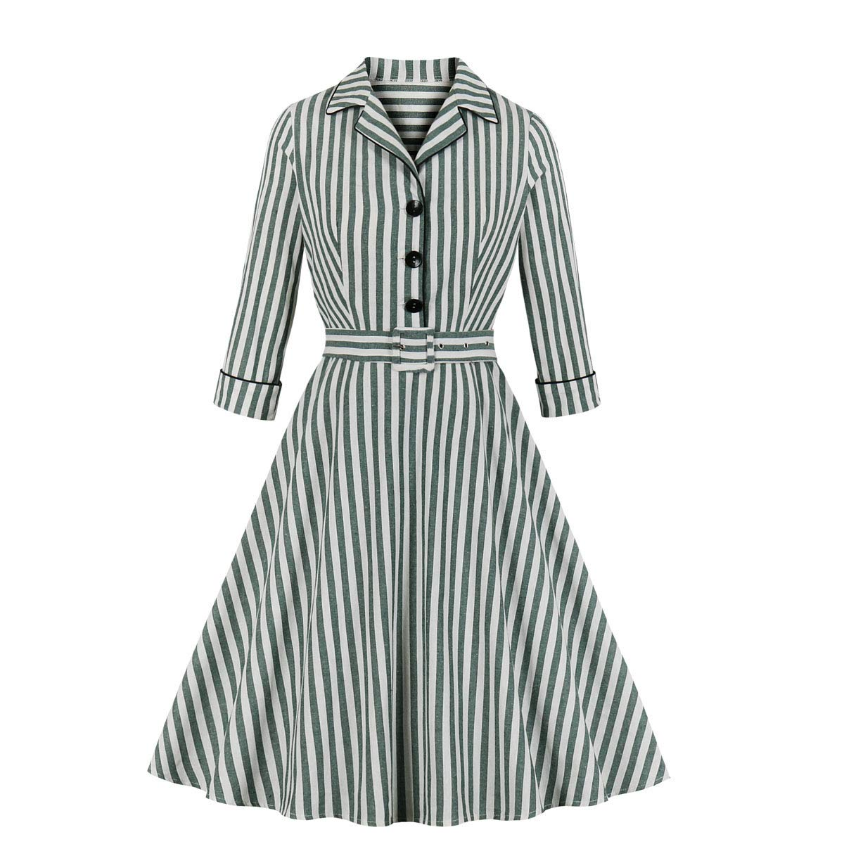 1940s Dresses | 40s Dress, Swing Dress Wellwits Womens 3/4 Sleeves Striped Button Shirt Lapel Vintage Career Dress $22.98 AT vintagedancer.com