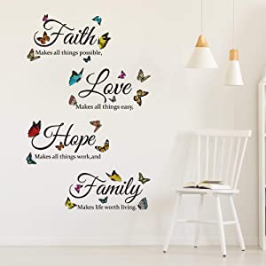 4 Sheets Vinyl Wall Decals, Faith Makes All Things Possible, Colorful Family Wall Decals Stickers Inspirational Quotes Decals, Motivational Wall Sayings Stickers for Home Decors (Butterfly Pattern)