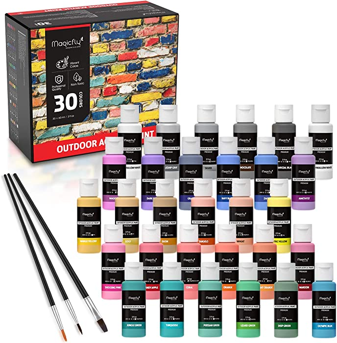 Magicfly Outdoor Acrylic Paint, 30 Colors (60ml, 2oz.) Patio Paints with 3 Paint Brushes, Rich Pigments with White, Gold, Shocking Pink, Multi-Surface Paints for Rock, Crafts, Fabric, Leather, Paper