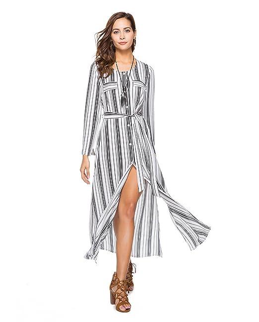 7c902c8eae84 Haroty 2018 Vestiti Donna Strisce Abiti Bluse Lunghi Vestito Elegante Abito  Estivo Abiti Manica Lunga Chiffon Casual  Amazon.it  Abbigliamento