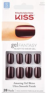 Amazon.com: Kiss Gold Finger Gel Glam 24 Nails GFC08 BLACK ...