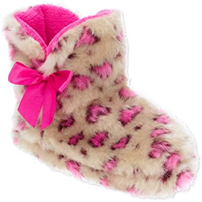 86b55d62d2a3 Amazon.com | w Girls' Toddler Fur Leopard Slipper Boot Booties (S 5 ...