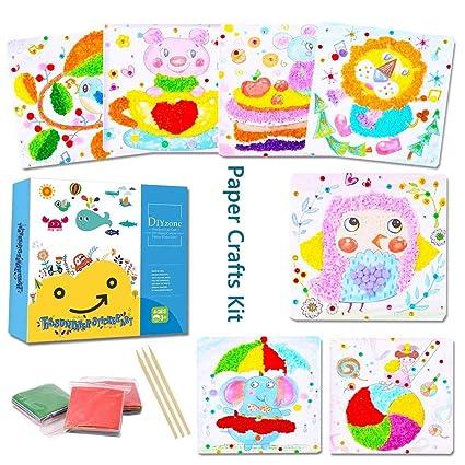 amazon com kids tissue paper sticker art kit diy mosaic pompoms