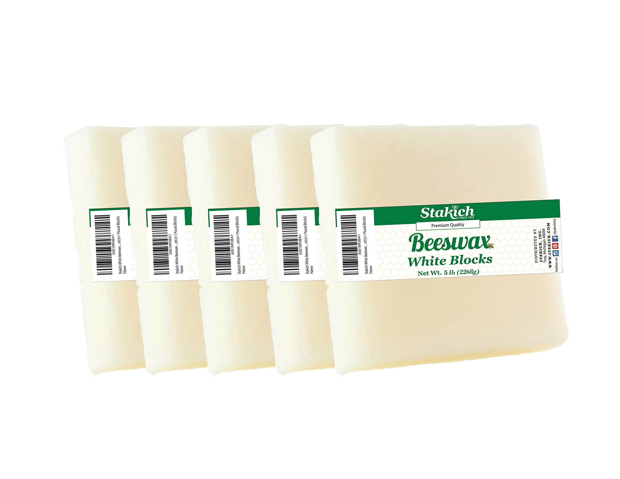 Stakich White Beeswax Blocks - Natural, Cosmetic Grade - 5 Pound (in 1 Pound Blocks)