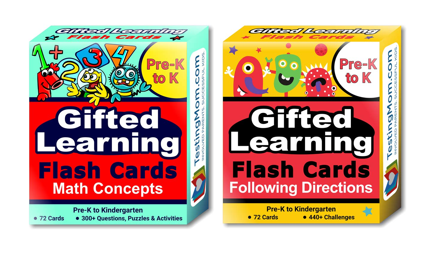 Gifted Learning Flash Cards (2-Pack) - Math and Following Directions for Pre-K - Kindergarten - Gifted and Talented Educational Toy Practice for CogAT, OLSAT, Iowa, SCAT, WISC, ERB, WPPSI and more by TestingMom.com