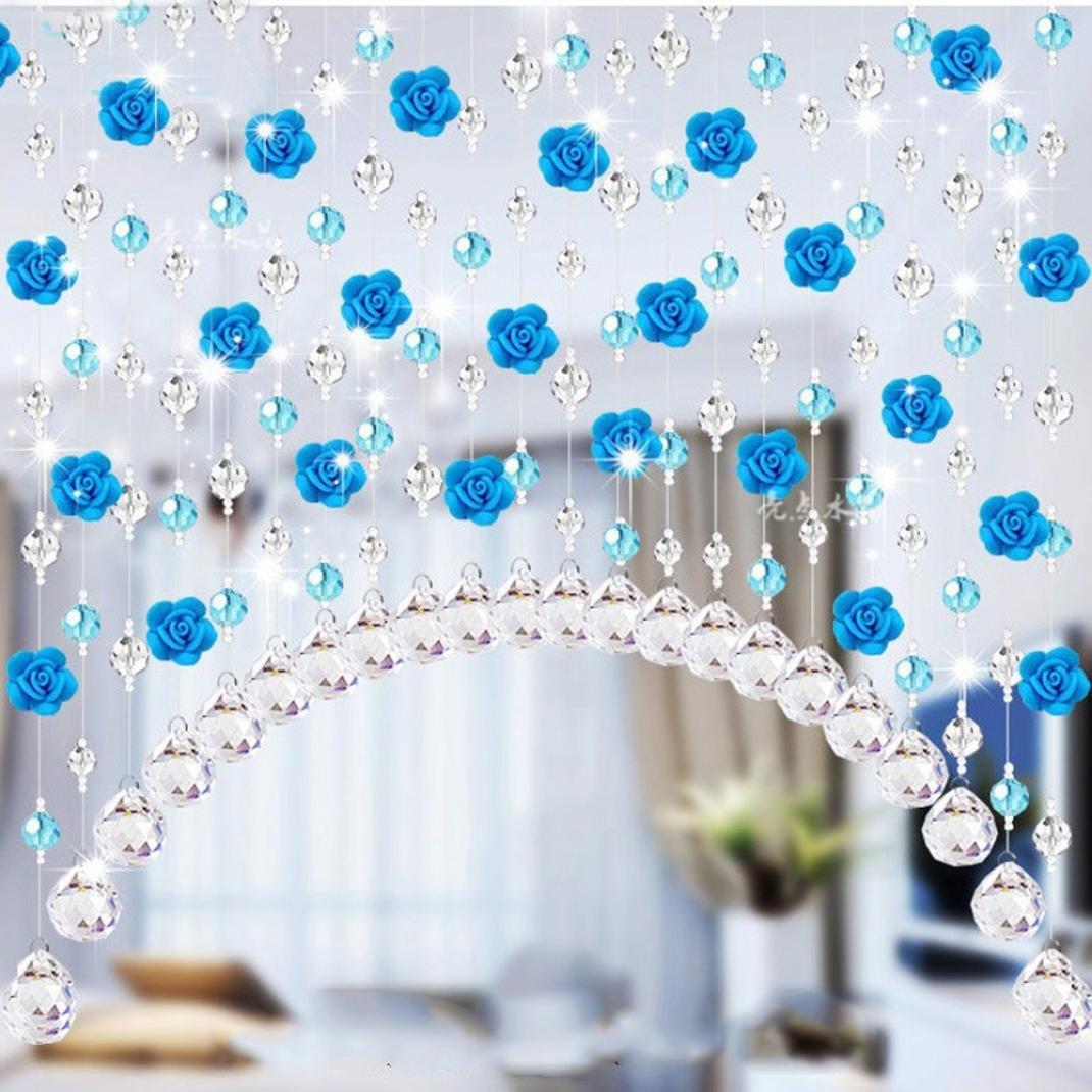 Coohole Crystal Glass Rose Bead Curtain Living Room Bedroom Window Door Wedding Home Decor (A)