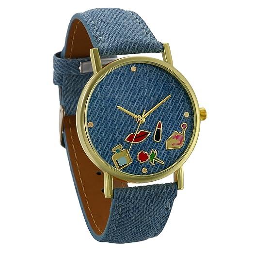 JewelryWe Relojes de Mujer con Dibujos Lápiz Labial y Rosa Reloj Analogico Correa de Cuero Azul Ligero, Retro Reloj de Pulsera para Chicas, Original Regalo ...