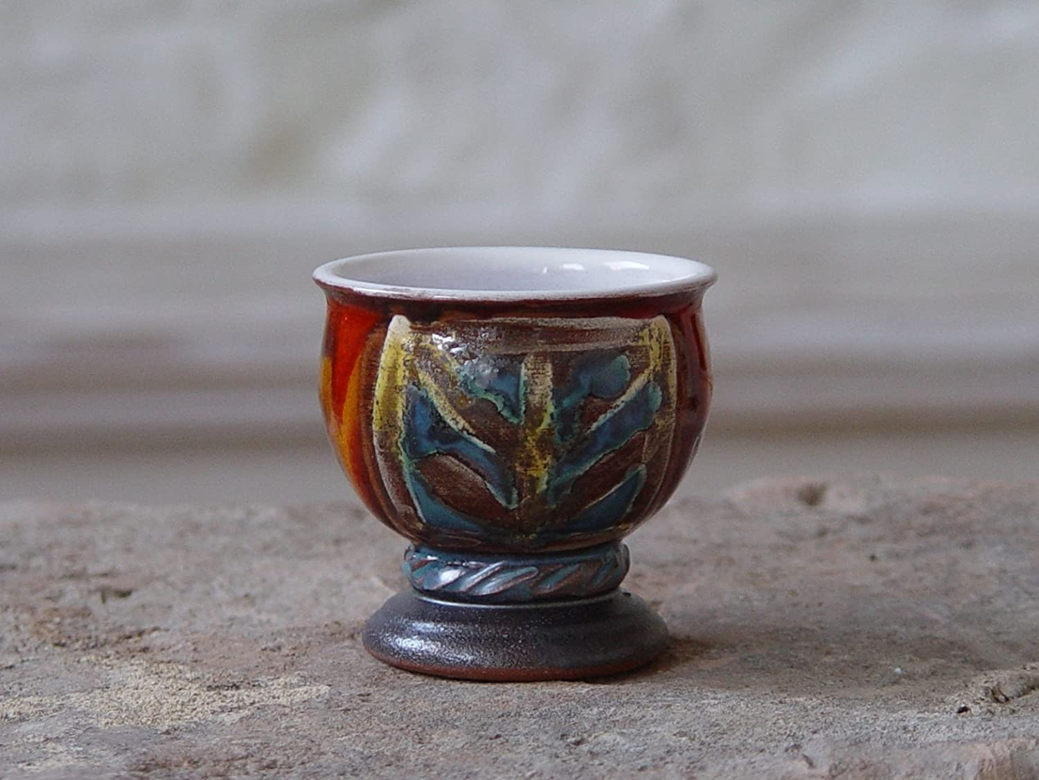 Pottery Tumbler, Small Pottery Glass for Mulled wine or Brandy