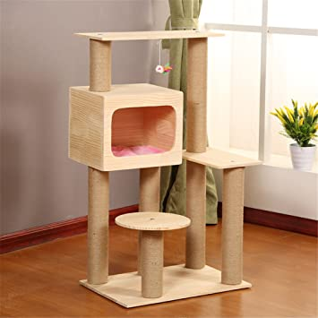 Xingxiu Marco de Escalada para Gatos, Una Cuerda de sisal Natural Cathead Cat Toy Cat Tree Cat Toys, artículos para Mascotas Centro de Actividades para ...