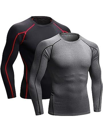 Niksa 2 Pièces T-Shirt de Sport Compression Homme Maillot Manches Longues  Vetement de Fitness 0d2ab0021b7c