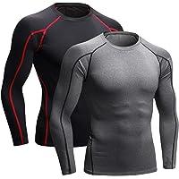 Niksa 2 Pezzi Fitness T-Shirt Maglia Compressione Uomo Maniche Corte Asciugatura Rapida Maglia da Sport per Corsa, Palestra