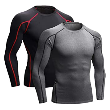 ca46d9d1 Niksa 2 Pack Long Sleeve Running Tops Mens,Base Layers Compression Top T- Shirts