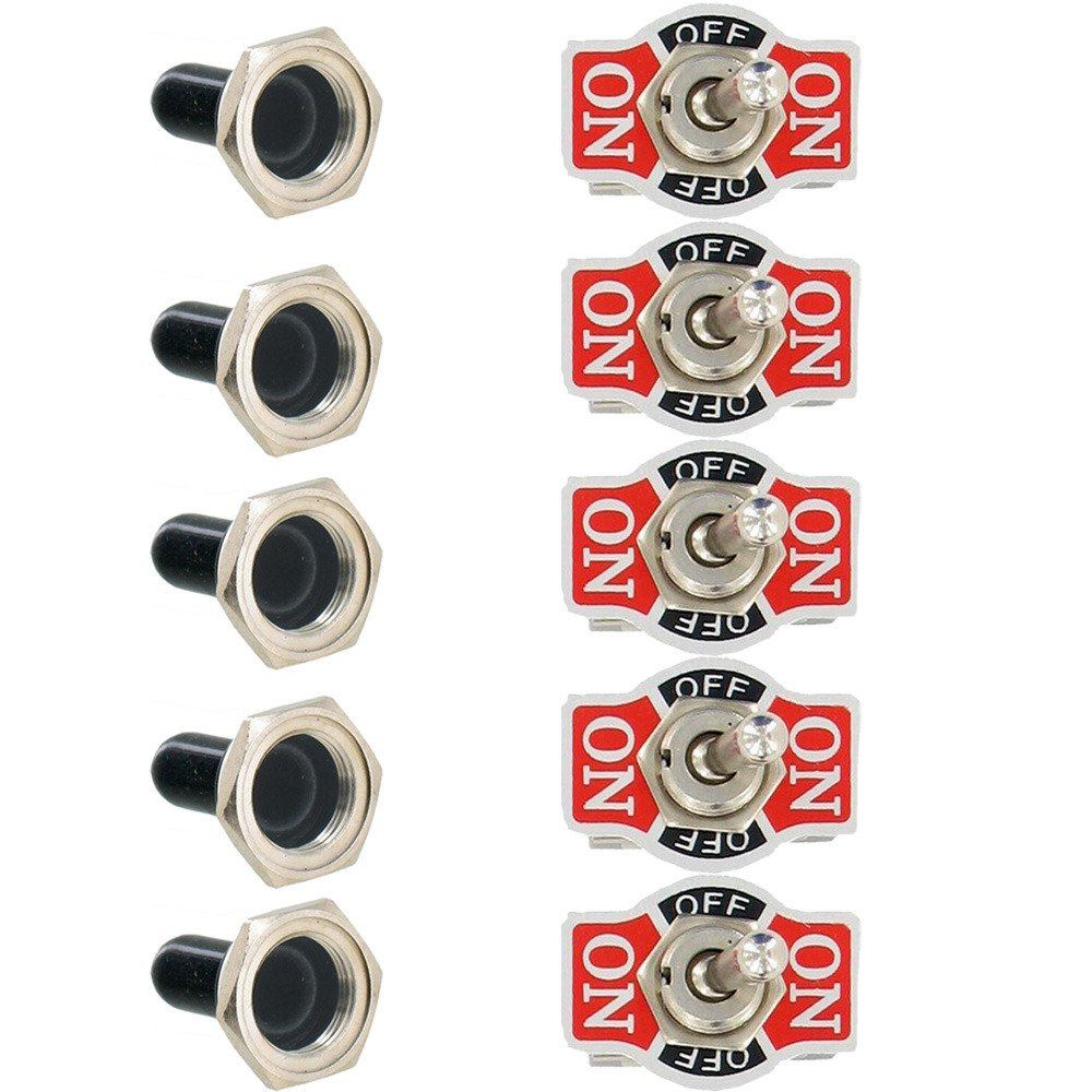 Etopars 5 X Heavy Duty 20A 125V 15A 250V SPST 2 Terminal Pin ON//OFF Rocker Toggle Switch Flick Metal Waterproof Cap Knob