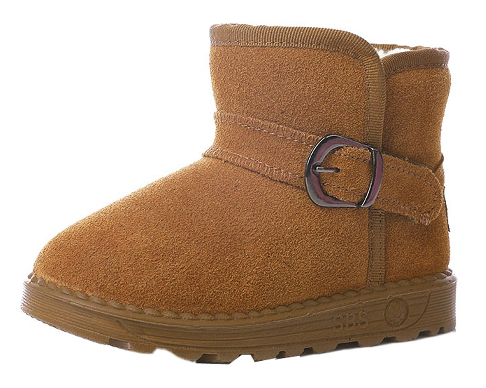 VECJUNIA Girls Boys Thick Suede Leather Snow Boots Outdoor Warm Short Plush Boot Brown 1 M US Little Kid