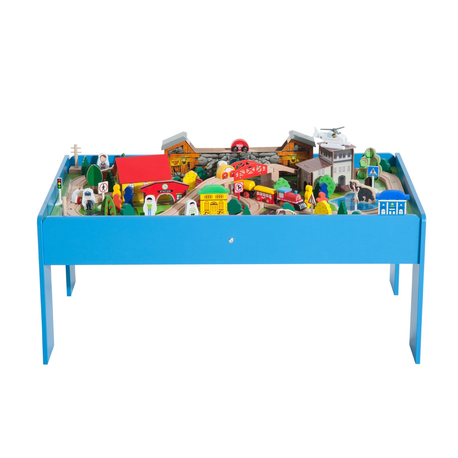 Qaba 108 Piece Wooden Kids Train Set and Activity Play Table