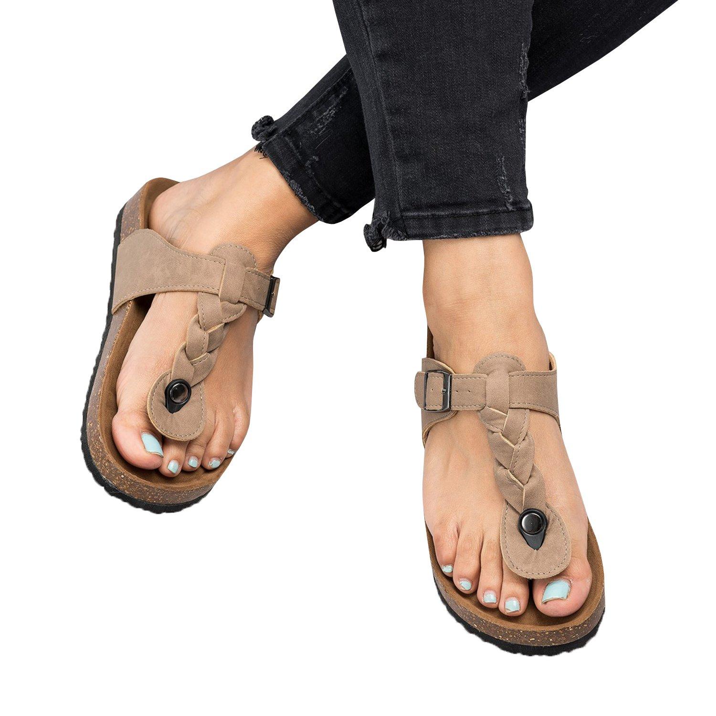 Damen Flip Flops Schuhe Sandalen Schnalle Peep-Toe Slip Sommer Strand Flache  36 EU|Grau-braun-1