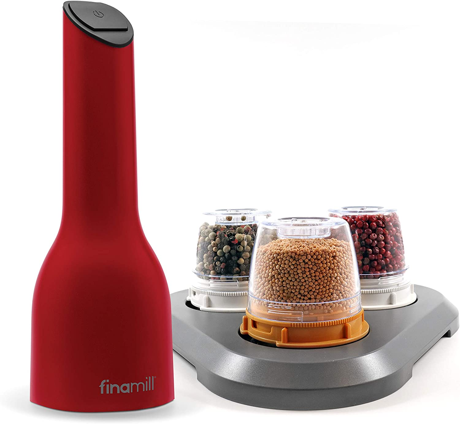 FinaMill - Award Winning Battery Operated Spice Grinder Gift Pack - includes 3 Quick-Change Spice Pods and 1 Stackable Tray-Perfect Gift For any Home Chef_ Cherry Red