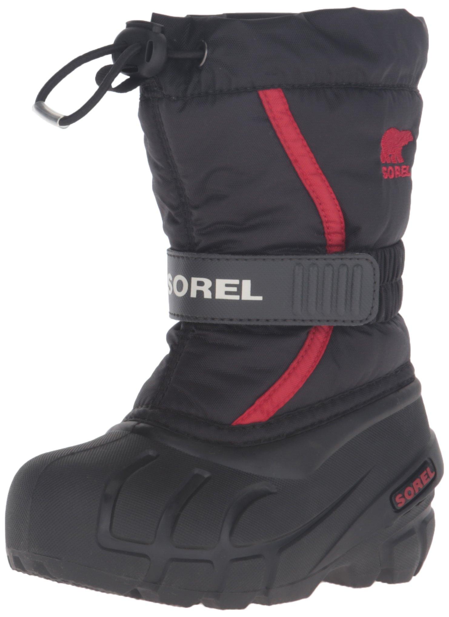 Sorel Childrens Flurry-K Snow Boot, Black/Bright Red, 11 M US Little Kid
