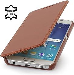 StilGut Book Type Case Senza Clip, Custodia in Vera Pelle per Samsung Galaxy S6, Cognac