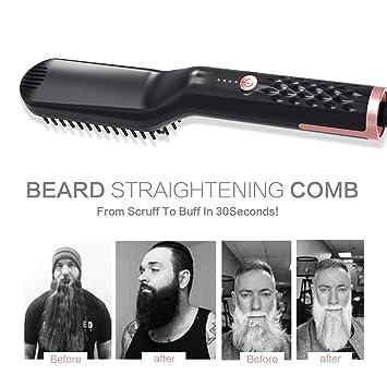 Lusenbo cepillo alisador de cabello y barba eléctrico, peine ...