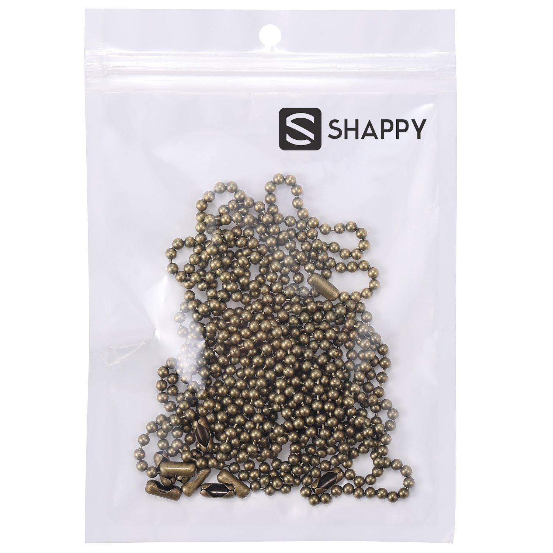 Shappy 3,2 mm de Di/ámetro Extensi/ón de Cadena de Tirar de Abalorios con Conector Bronce B 10 Pies de Cadena de Rodillo con Cuentas con 10 Conectores Correspondientes