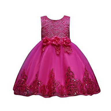 Deloito Floral Baby Girl Princess Bridesmaid Pageant Gown Birthday Party  Wedding Dress Sleeveless Party Dresses Girl Clothes Suitable 1-8 Years Old  Baby  ... 7df3cae1a7d1