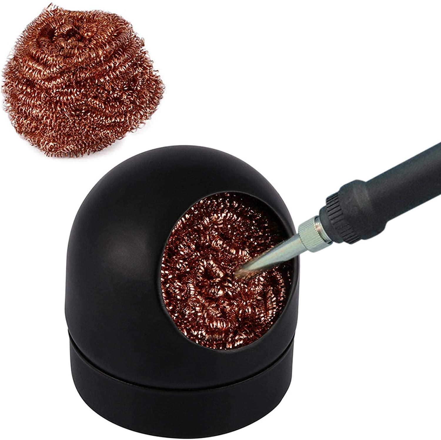 Iron Tip Cleaner,Brass Cleaner Wire Ball Cleaning Wire and Holder for Cleaning Soldering Head Steel Irons Tip Black