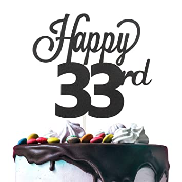 33rd Happy Birthday Cake Topper Premium Double Sided Black Glitter Cardstock Paper Party Decoration