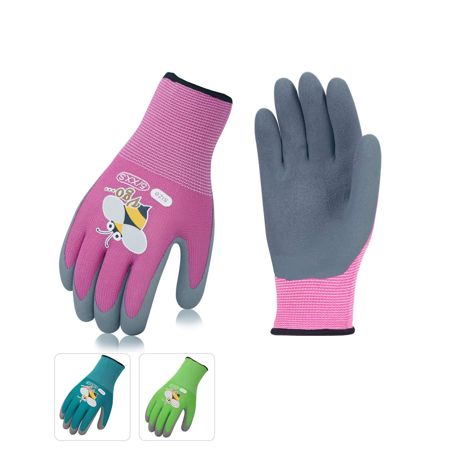 Vgo 3 Pairs Age 3-5 Kids Multicolored Garden Gloves, Foam Rubber Coated Garden and Work Gloves (Size 5/XXS for Age 3-5, Blue & Green & Pink, KID-RB6013) Laborsing Safety Products Inc.
