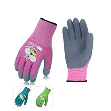 67faa4c13 Vgo 3 Pairs Age 3-5 Kids Multicolored Garden Gloves, Foam Rubber Coated  Garden and Work Gloves (Size 5/XXS for Age 3-5, Blue & Green & Pink, ...