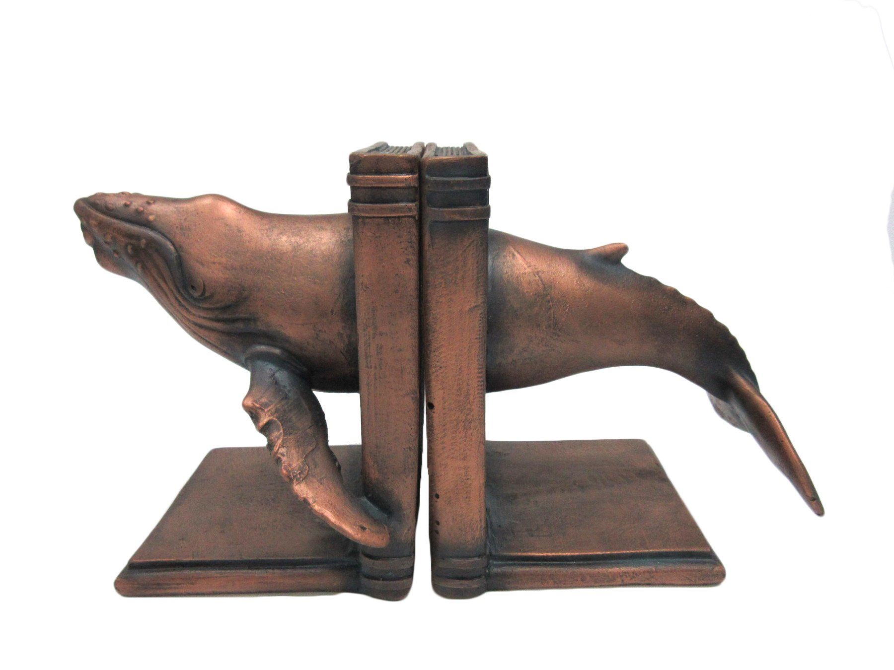 Pacific Giftware Faux Bronze Humpback Whale Marine Life Decorative Bookends Set 7 Inch Tall