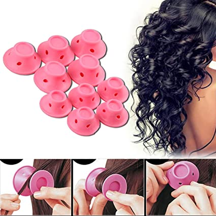 mazimark -- 10pcs bricolaje silicona rizador de cabello Magic Cuidado del  Cabello rodillos sin calor f2485deae657