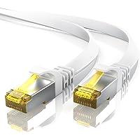 10m CAT 7 Netzwerkkabel Flach - Ethernet Kabel | Gigabit Lan 10 Gbit/s | Patchkabel - Flachbandkabel - Verlegekabel | Cat.7 Rohkabel U/FTP PIMF Schirmung mit RJ 45 Stecker | Switch Router Modem