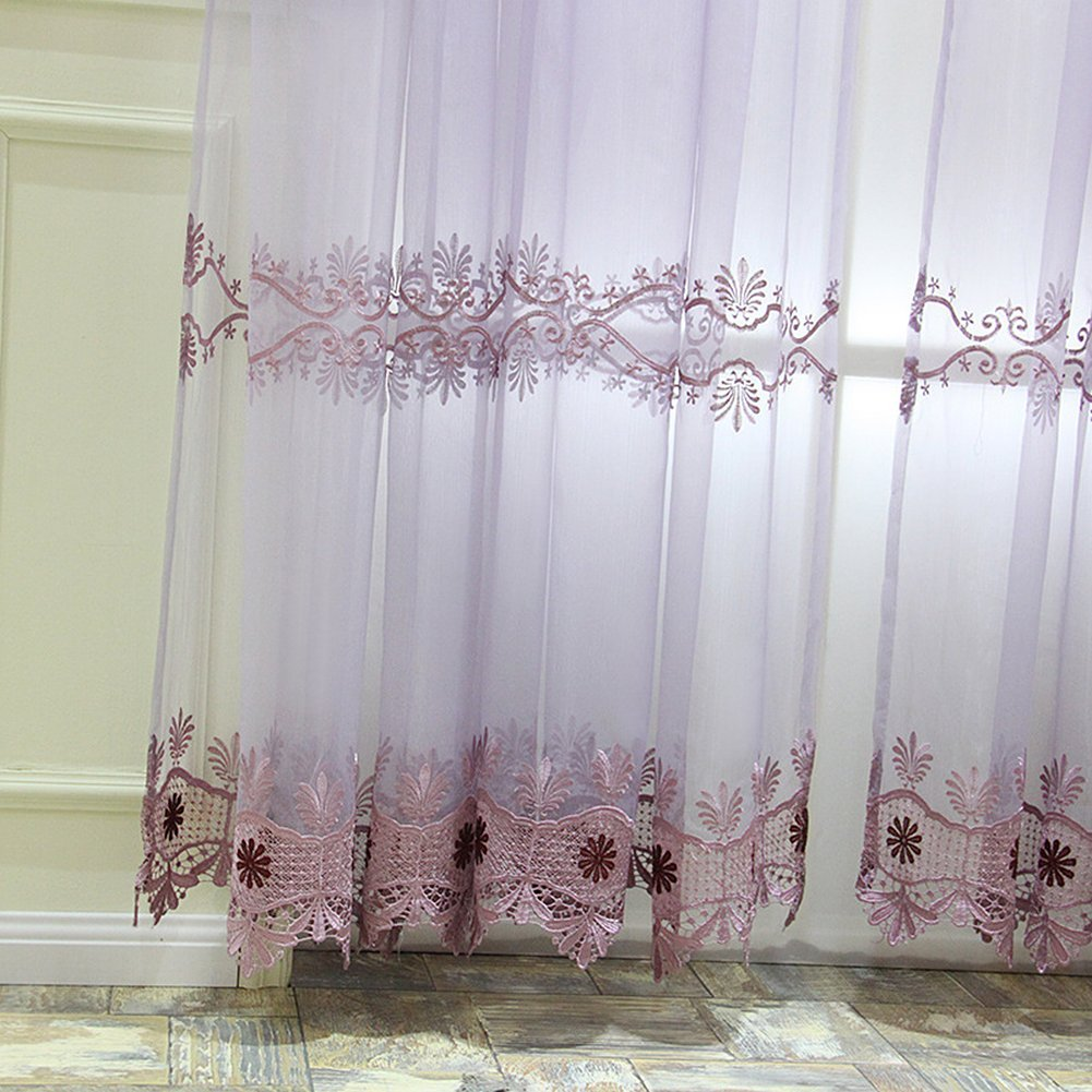 Aside Bside Victorian Style Sheer Curtains Rod Pocket Top Floral Gorgeous Knitting Permeable Window Decoration For Sitting Room Houseroom and Child Room (1 Panel, W 52 x L 63 inch, Purple)