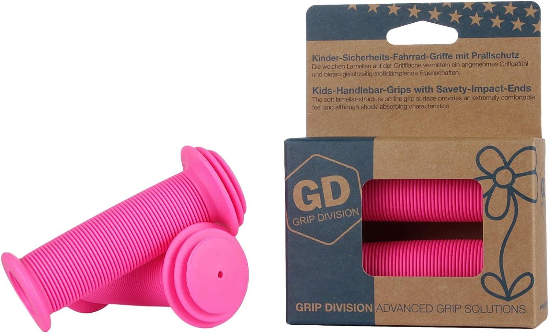 Puños para bicicleta para niños con protección de impacto de seguridad de GD Grip Division , color rosa neón, tamaño 100 x 43 mm, 0.13