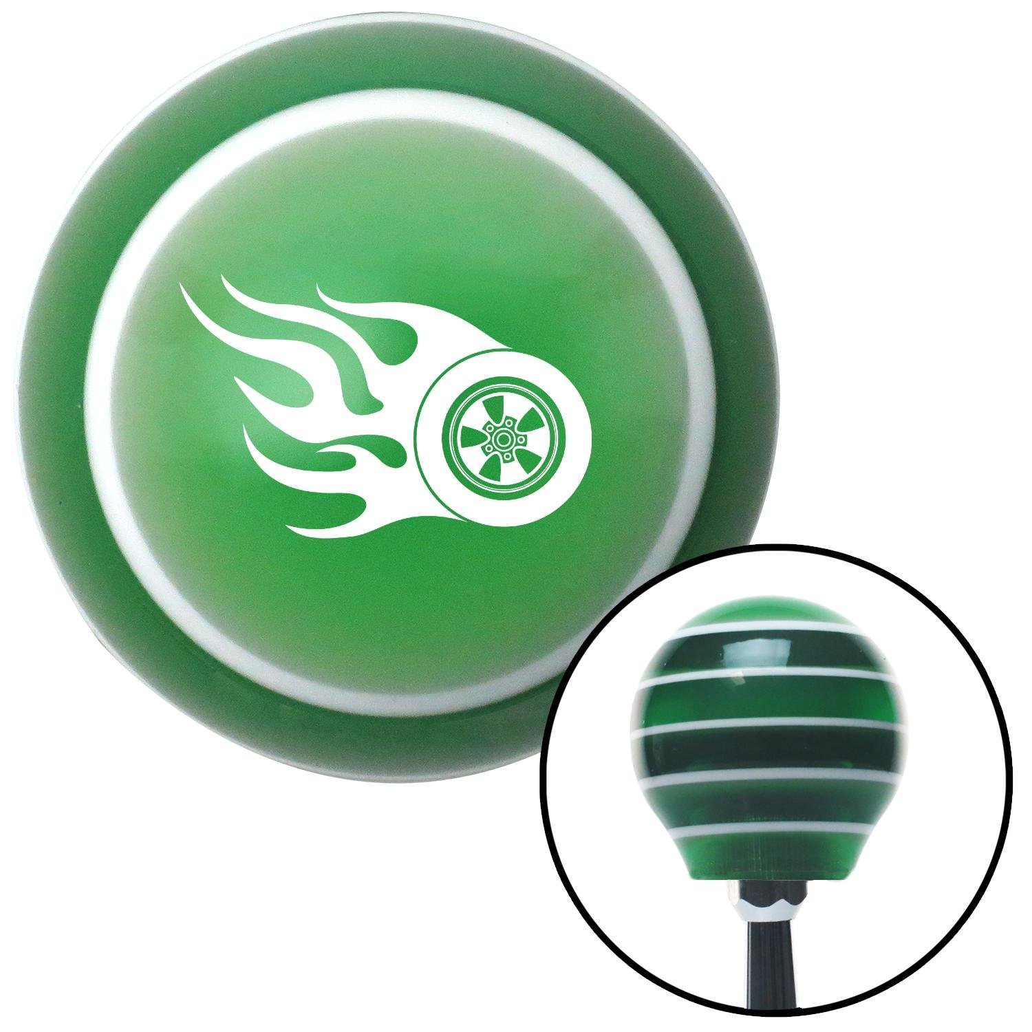 White Wheel On Fire American Shifter 121591 Green Stripe Shift Knob with M16 x 1.5 Insert