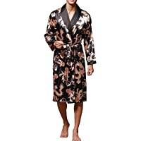 Sidiou Group Night Robe Men Kimono Bathrobe Satin Robe Long Sleeve Nightgown Dressing Gown Nightwear Sleepwear