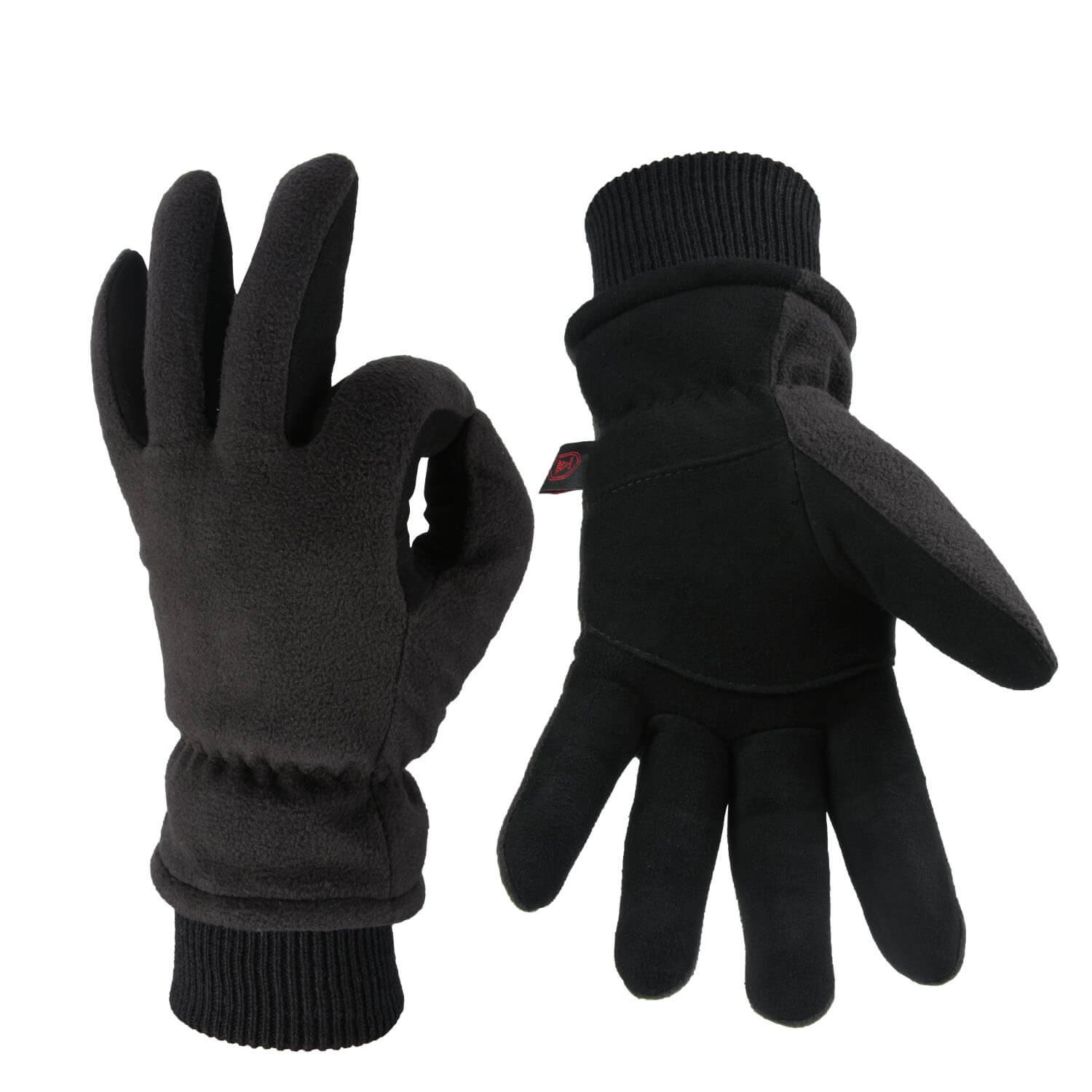 OZERO Winter Gloves Coldproof Snow Work Glove - Deerskin Leather Palm & Polar Fleece Back Insulated Cotton - Windproof Water-Resistant Warm Hands in Cold Weather Women Men - Denim(L)