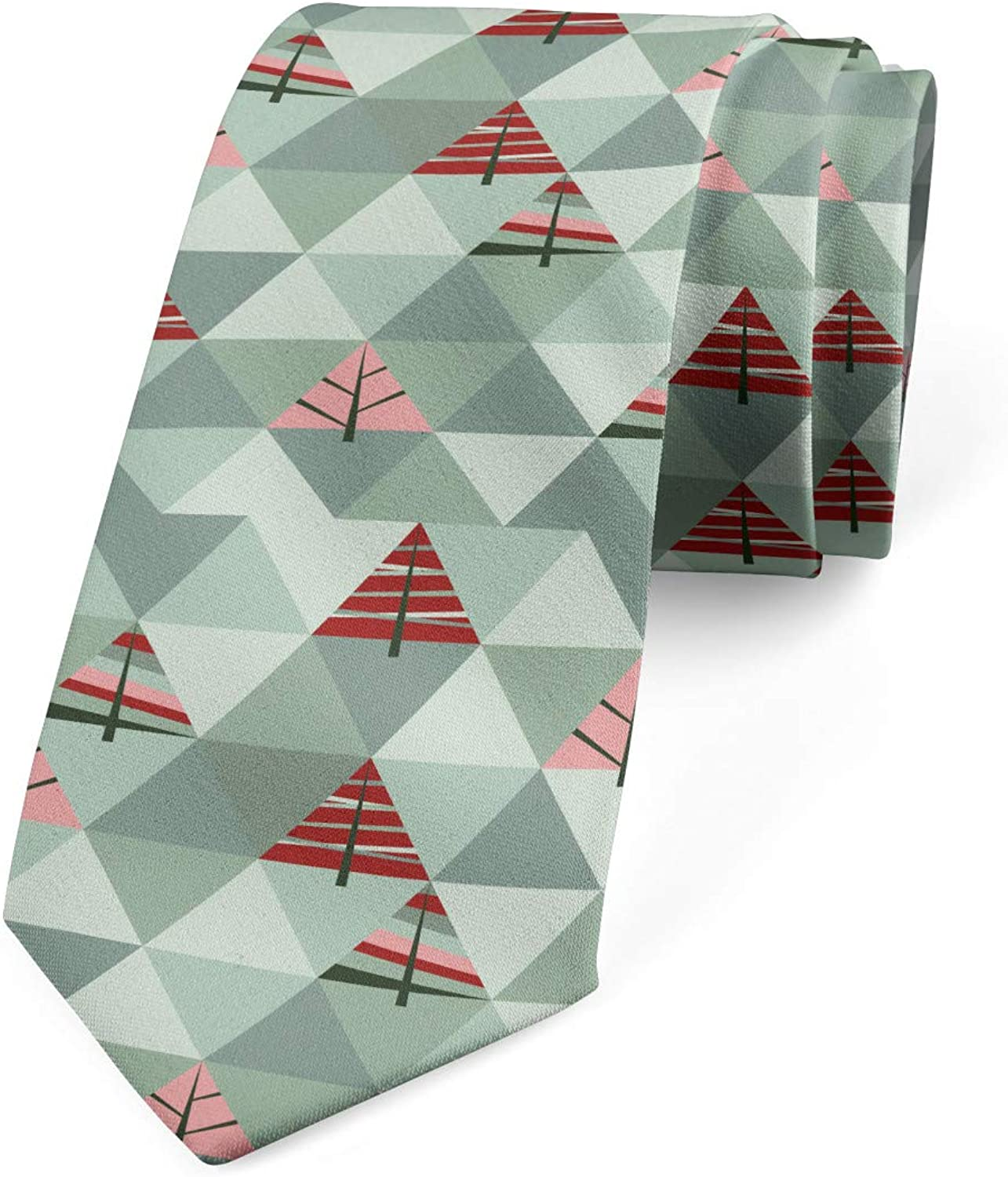Illustration of Triangles Ambesonne Necktie Coral and Reseda Green 3.7