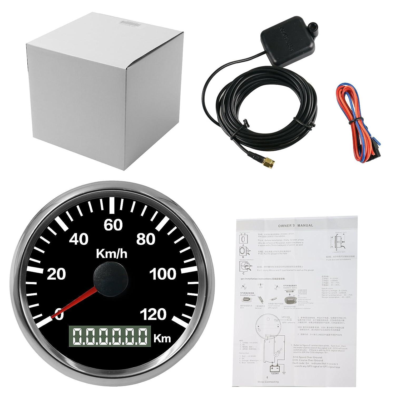 Autool - Velocí metro de 85 mm impermeable con GPS inoxidable, 0 a 120 km/h para coche, motocicleta, camió n, caravana, barco de 12 y 24 V 0a120km/h para coche camión barco de 12y 24V