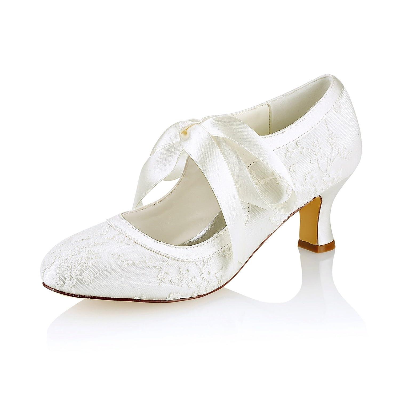 KUKIE Best 4U® Frauen Hochzeit Schuhe Niedrig Lace Frühling Sommer 6CM Niedrig Schuhe Heels Braut Brautjungfer Round-Toe Straps Gummisohle Abend Sandalen Bankett Schuhe - 2bb8d8