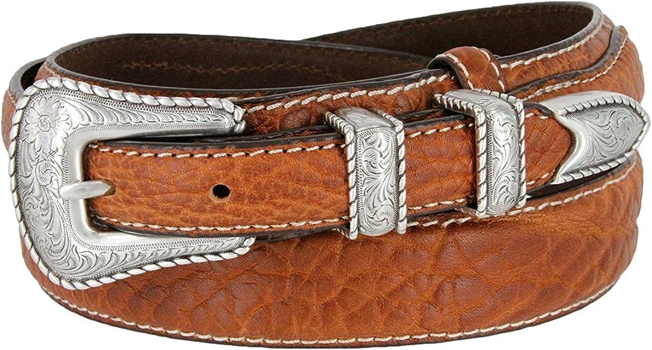 Pele Belt Men 29 mm Wide Genuine Bison Leather White Stitches Floral Buckle